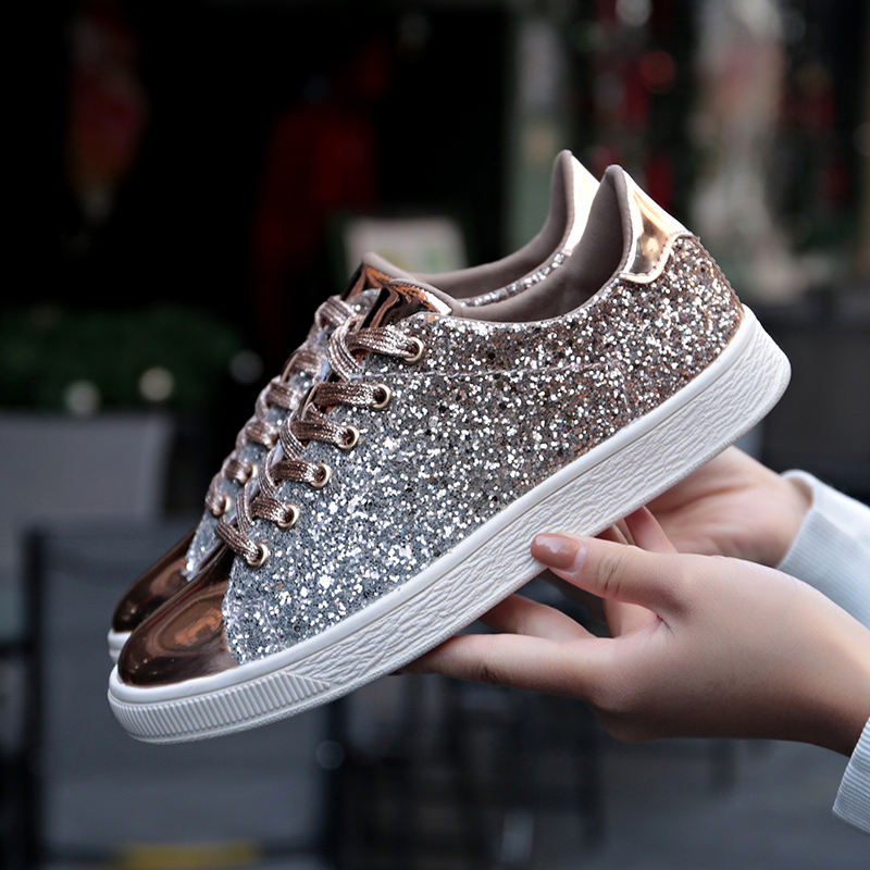 Fashion sneakers 2020 womens Flat Shoes Casual Outdoor Walking Shoes Woman Lace-up Gold Glitter Ladies Shoes Zapatos Mujer