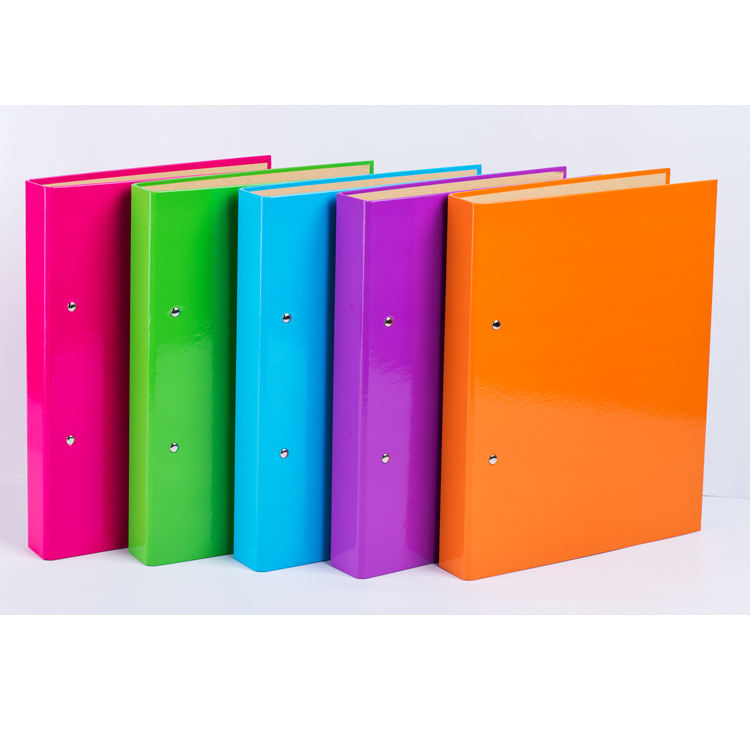 Customized good quality durable eco-friendly colored paper 2 holes ring binder