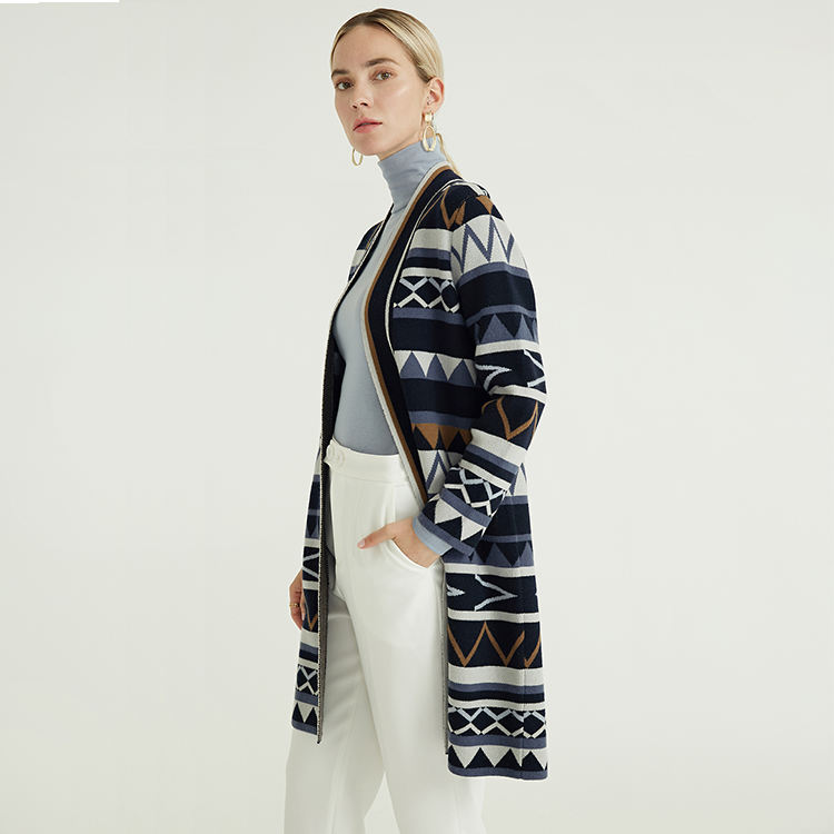 Luxury Wool Cashmere Blend Long Length Autumn Winter Geometric Patterns Wool Coat For Ladies