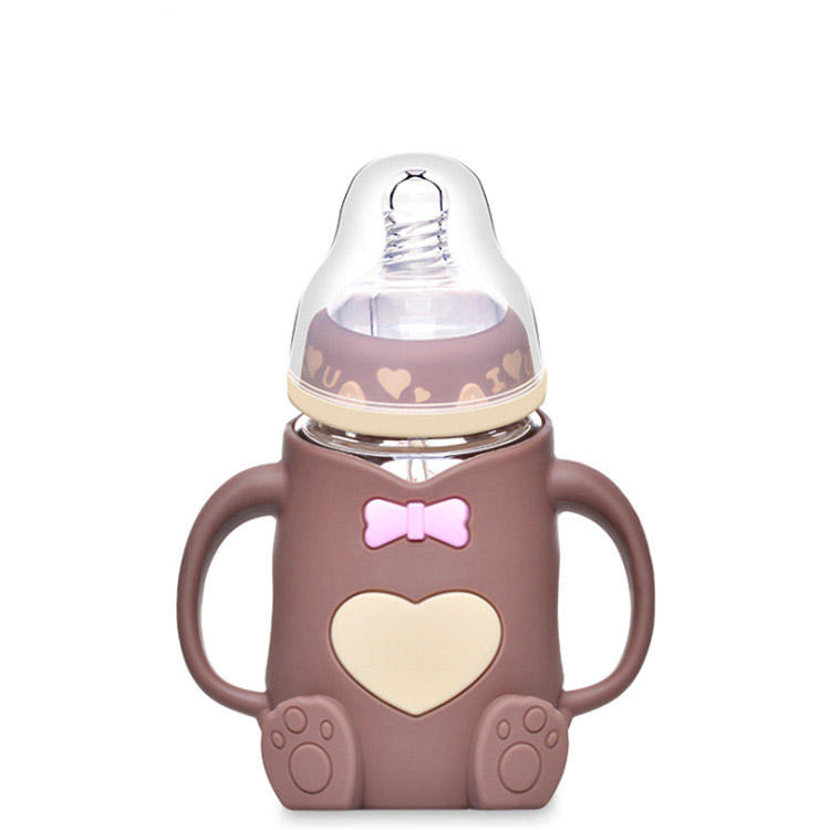 Unbreakable glass Baby Milk Feeding Bottles with silicone cute cover