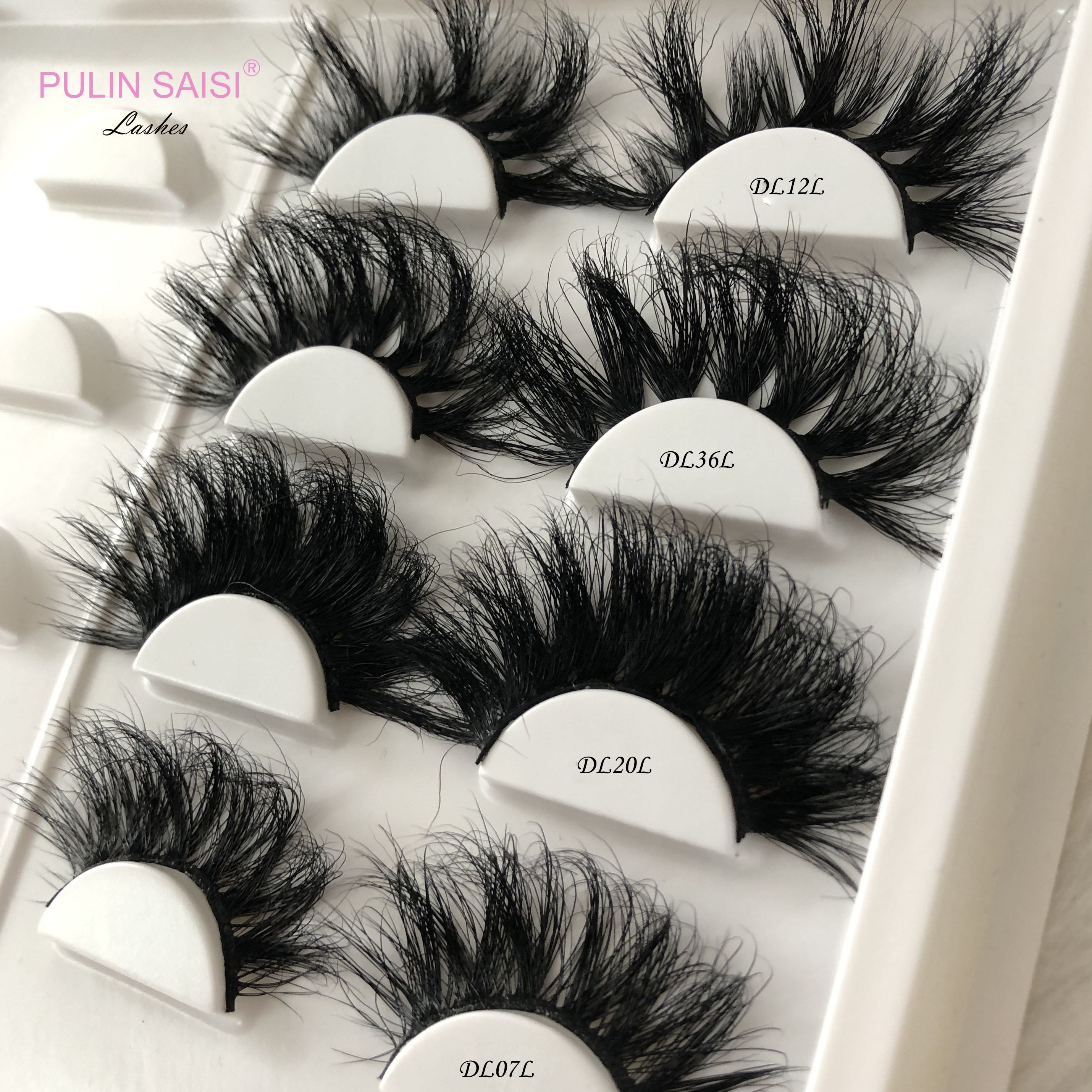 PulinSaisi Siberian real false wispy fluffy full strip mink lashes3d lashes wholesale 5d 25mm mink eyelash vendor