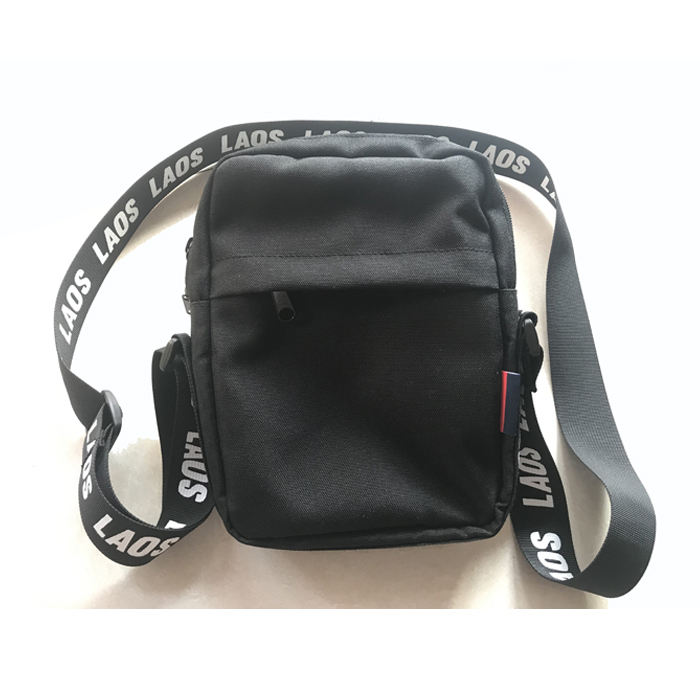 black customized woven strap man fanny pack shoulder bag sling bag