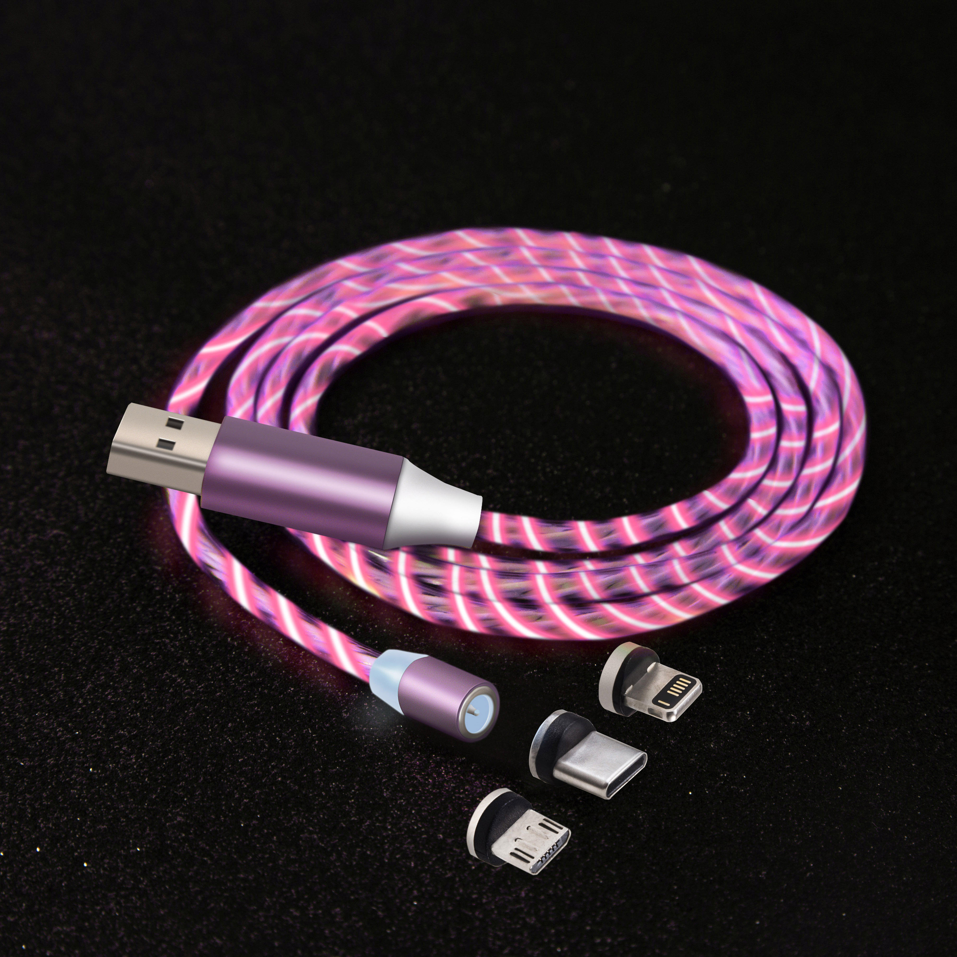 Flowing Light LED Micro IOS Type c USB Charger Data Cable Mobile Phones Led Magnetic Charging Cable