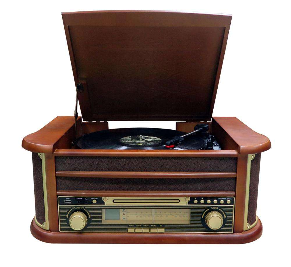 Classic Vintage USB recording old turntable wooden record player