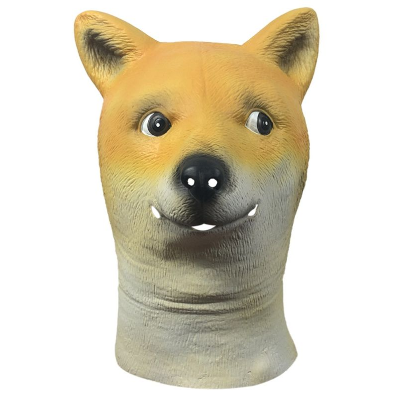 Funny full head doge mask cosplay fancy dress Halloween party dog mask latex