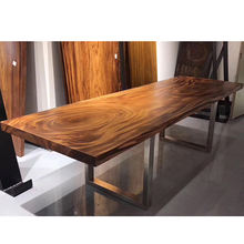 Natural raw acacia live edge wooden slab solid rustic south american walnut restaurant bar dining table