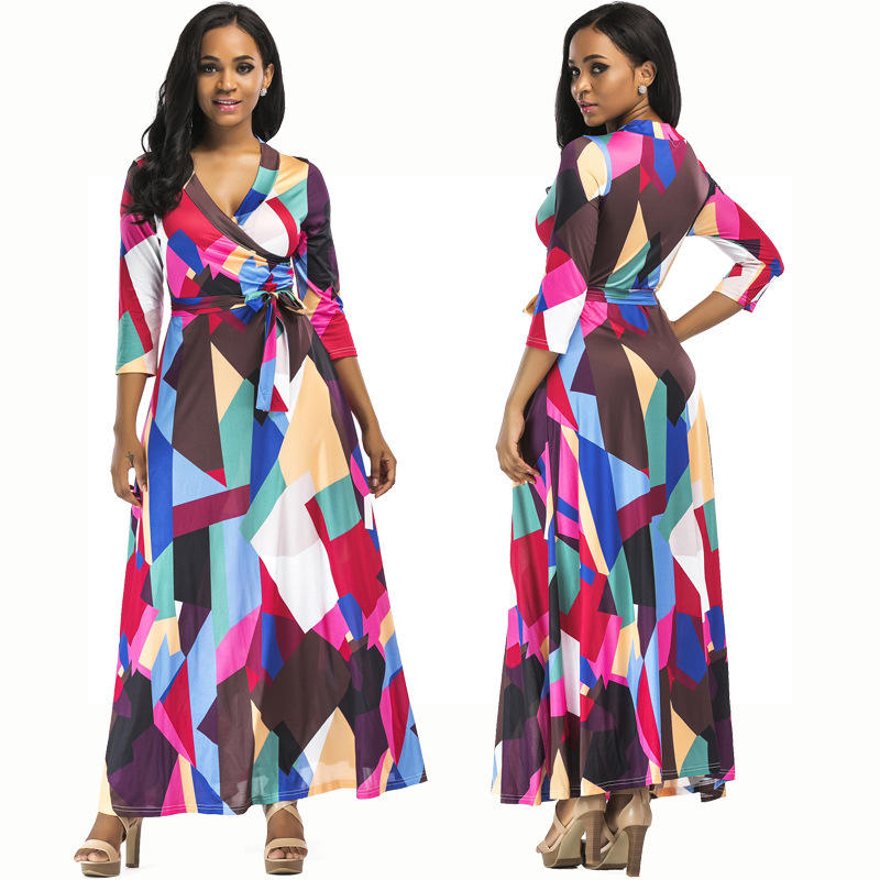 Geometric Pattern Printing Bohemian Sexy Summer Beach Wear Long Women Dress