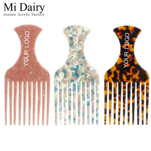 4mm thickness OEM ODM support custom logo fashion fancy acetate afro hair combs Hair salon curls combs for women