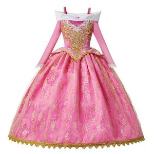 New Girls Aurora Princess Costume Long Sleeve Sleeping Beauty Birthday Party Gown Children Fancy Dress For Girls