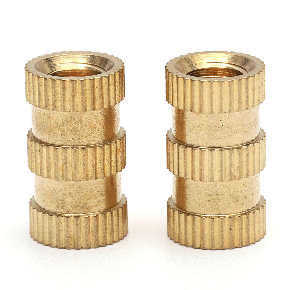 Brass Thru-Threaded Press-Fit Chèn Nut Cho Nhựa Threaded Có Khía Đồng Thau Chèn Nut M4 Đồng Thau Chèn