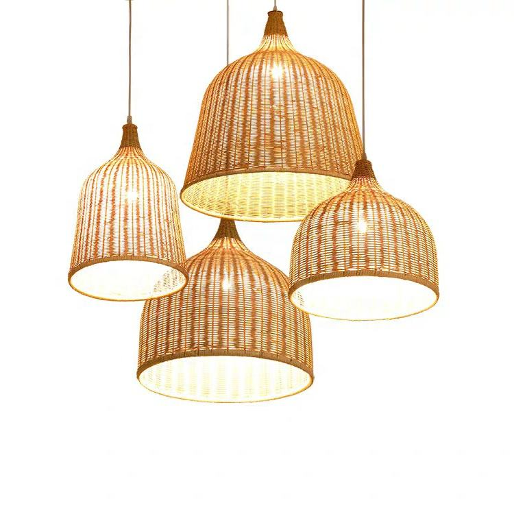 High quality woven lantern pendant lamp living room rustic style Bamboo rattan chandelier