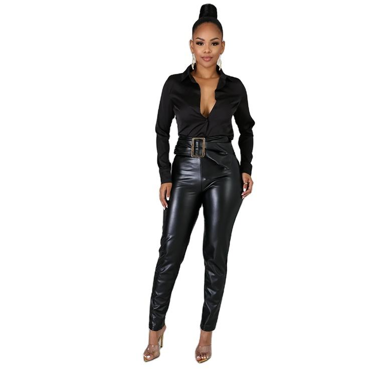 women custom clothing vendors long pants High Waist Stretched Faux Leather pants for women PU Bodycon long pants
