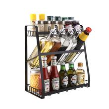 Black Spice Rack Organizer 3 Tier Rack Metal Spice Jars Bottle Stand Holder Kitchen Organizer Storage Kitchen Shelves