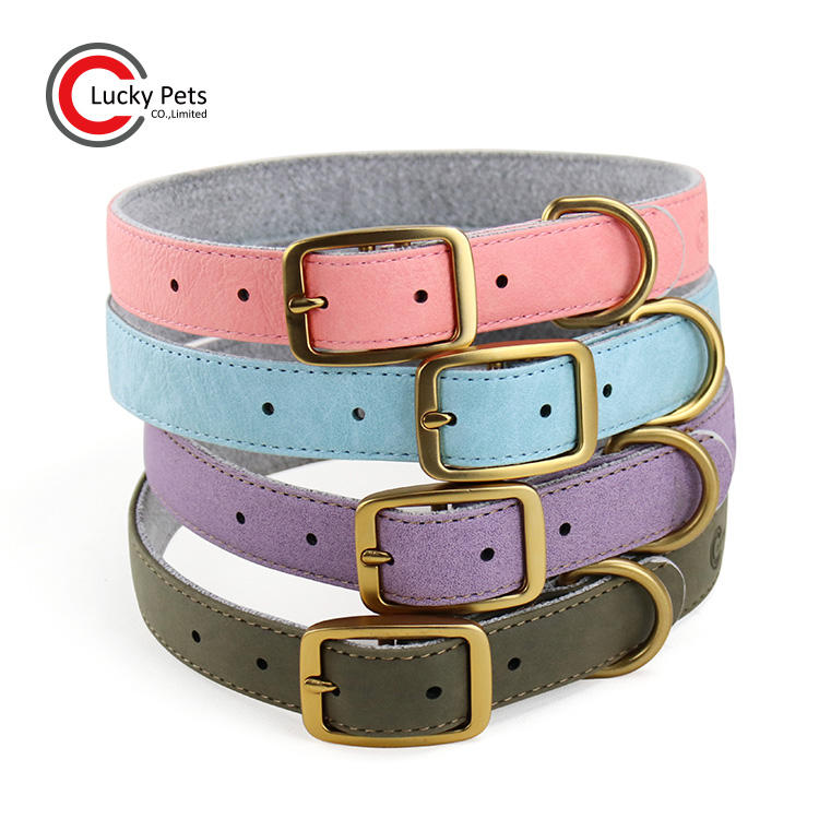 Luxury adjustable vegan leather dog collar with buckle