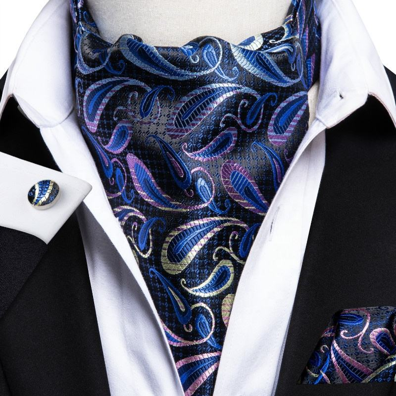 New Design Paisley Floral Royal Ascot Tie Handkerchief Cufflinks for Men