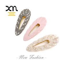 beautiful designer alligator clips hair accessories for women wholesale luxury pearl hair clips custom shell hair clip for girls