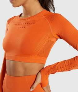 Long Sleeve Running Shirts & Full Length Gym Fitness Tights set womens seamless Crop Top Gym yoga set