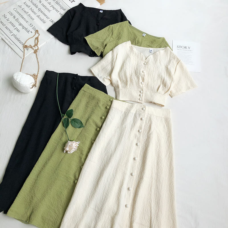 Summer Dress Women Suits New Single Breasted 2 Piece Set Elegant Short Sleeve V Neck Chic Tops And Mid-Calf Skirt Female Elegant