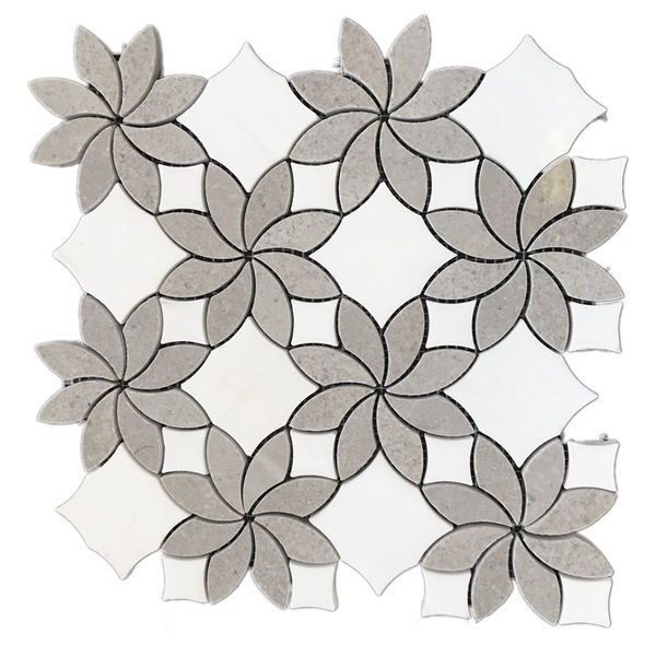 Vietanm white marble flower shape mosaic for wall decoration