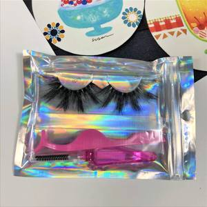 wholesale real 3d mink lashes custom packaging box private label mink strip eyelashes with holographic bag