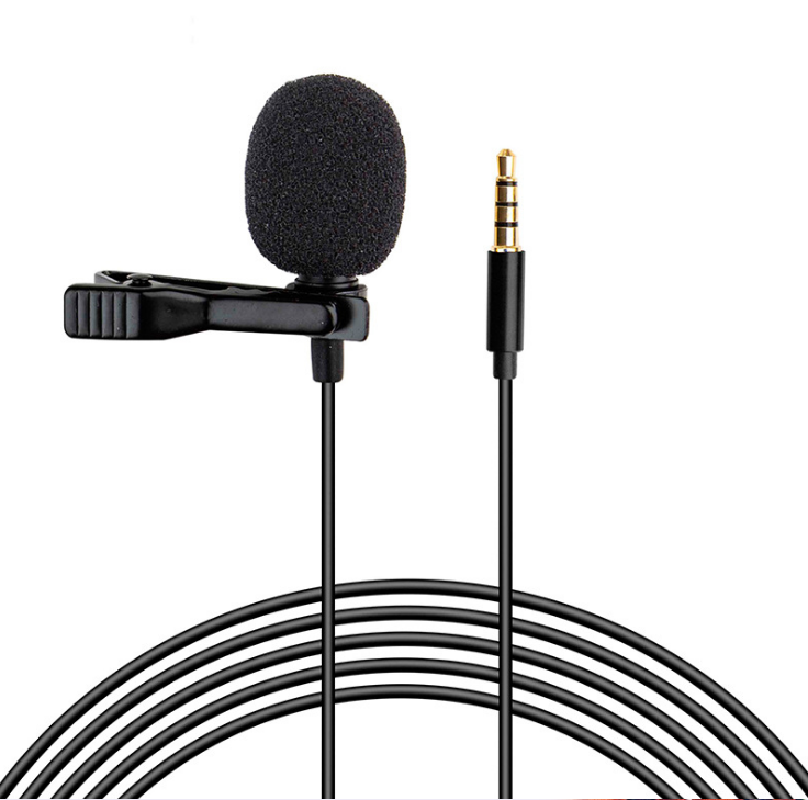 Lapel microphone portable lavalier 3.5mm wired clip on microphone for phone and laptop