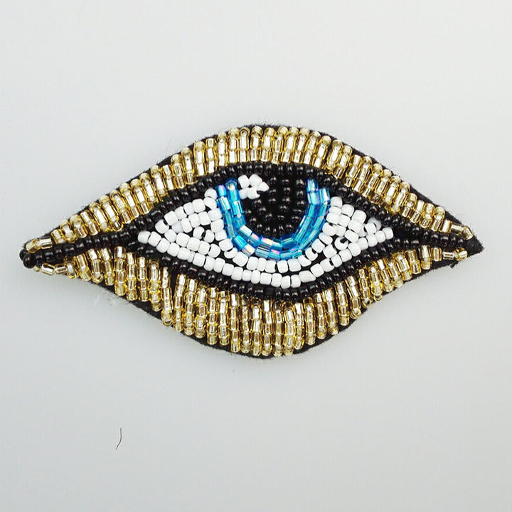 Hot-sale Fashional Keering 8*4.2cm Secret Big Blue Sky Eye Beaded Applique Patches Sew On Clothes WPHB-718