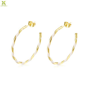 Fashion Tinggi Polandia Kuningan Anting-Anting Keras Enamel Hoop Anting Wanita