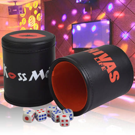 KTV Bar Printing Leather+Plastic Dice Cup Set Without Lid& 6pcs Digital White/Acrylic Dices