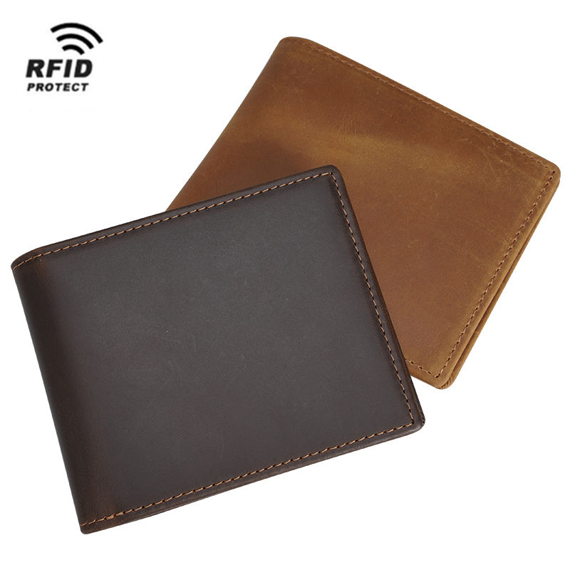 Custom Brown Full Grain Genuine Leather Wallet Men Crazy Horse Anti Rfid Blocking Security Leather Bifold Wallet