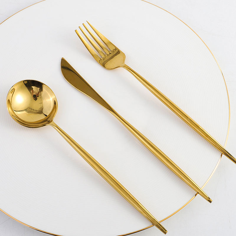 High Quality Gold Matte Cuttlery Set Stainless Steel Cutlery Flatware For Wedding