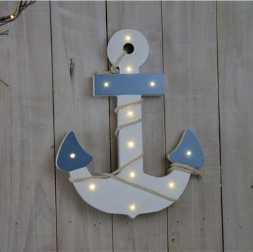 WHOLESALE Factory made Ocean Wind style Anchor shaped wooden Led light for kids room