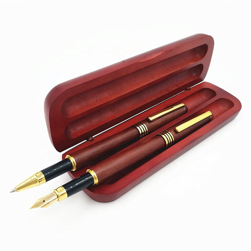2019 Luxury Wood Gift Pen Set Customized Engraved Logo Rosewood Roller Ball Pen And fountain Pen With Box