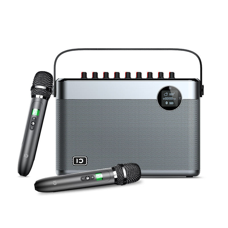 Portable All in one Karaoke System PA Speaker comes with alloy wireless rechargable microphone suppport Guitar.