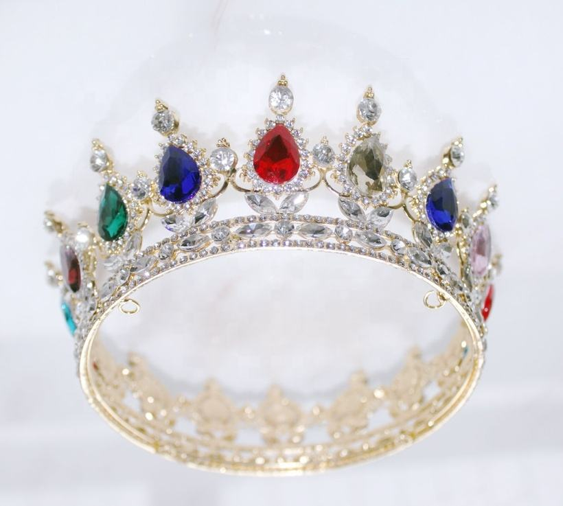 Free customized gold full round crystals mixed crowns for girls silver diamond queen tiaras