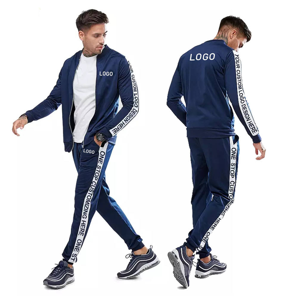 BAIYIMO Slim Fitted high quality Gym Fitness Mens Jogging Tracksuit Sweatsuit men Tracksuit Set