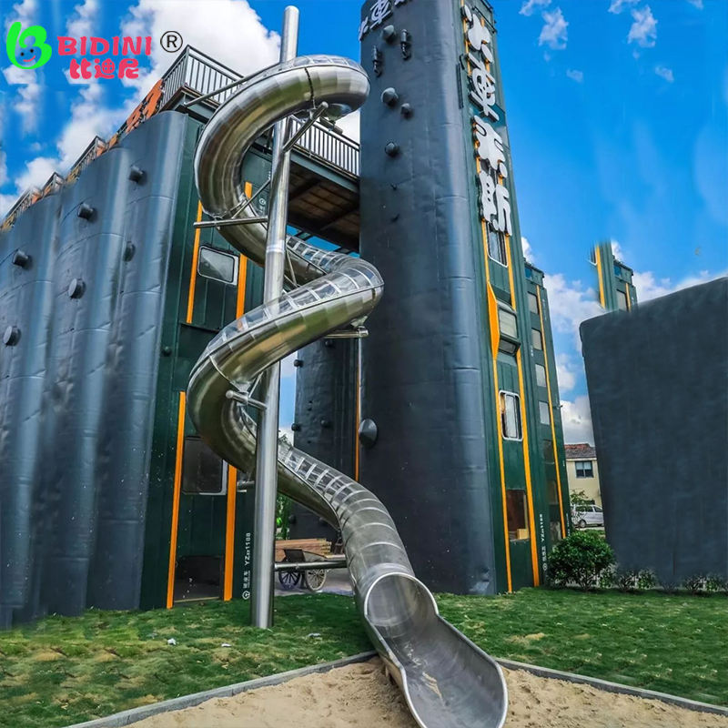 High-End Disesuaikan Outdoor Playground Tabung Stainless Steel Slide Indoor Anak Double Spiral Slide Mall Bercahaya Slide