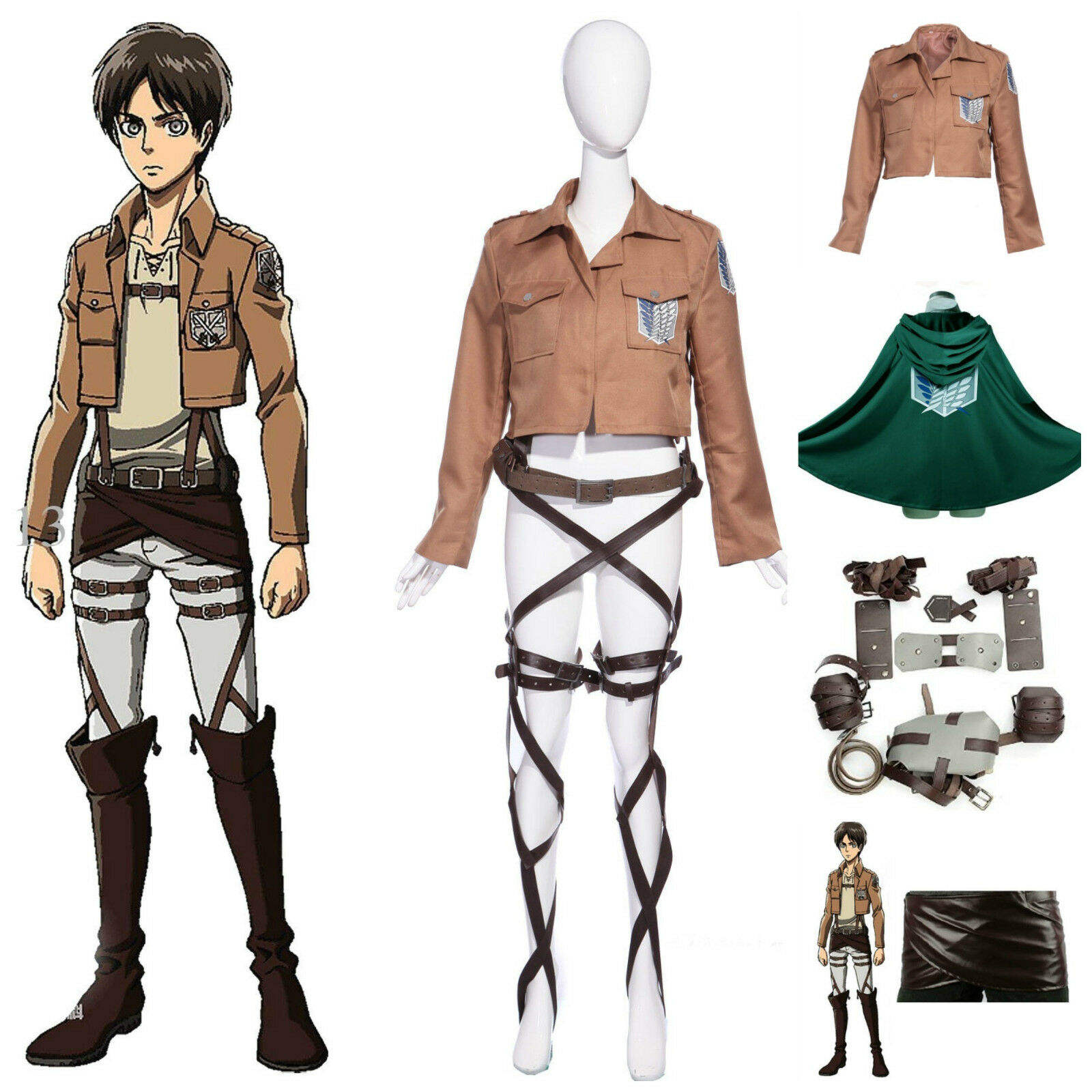 Ecoparty Deluxe Attack on Titan Costume Set Jacket Cape Belt Shingeki No Kyojin Cosplay
