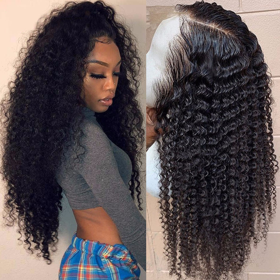 Wholesale Vendors Human Hair Extensions Wigs Brazilian Kinkly Curly Deep Wave Wigs Lace Front 360 Hd Frontal Wig For Black Women