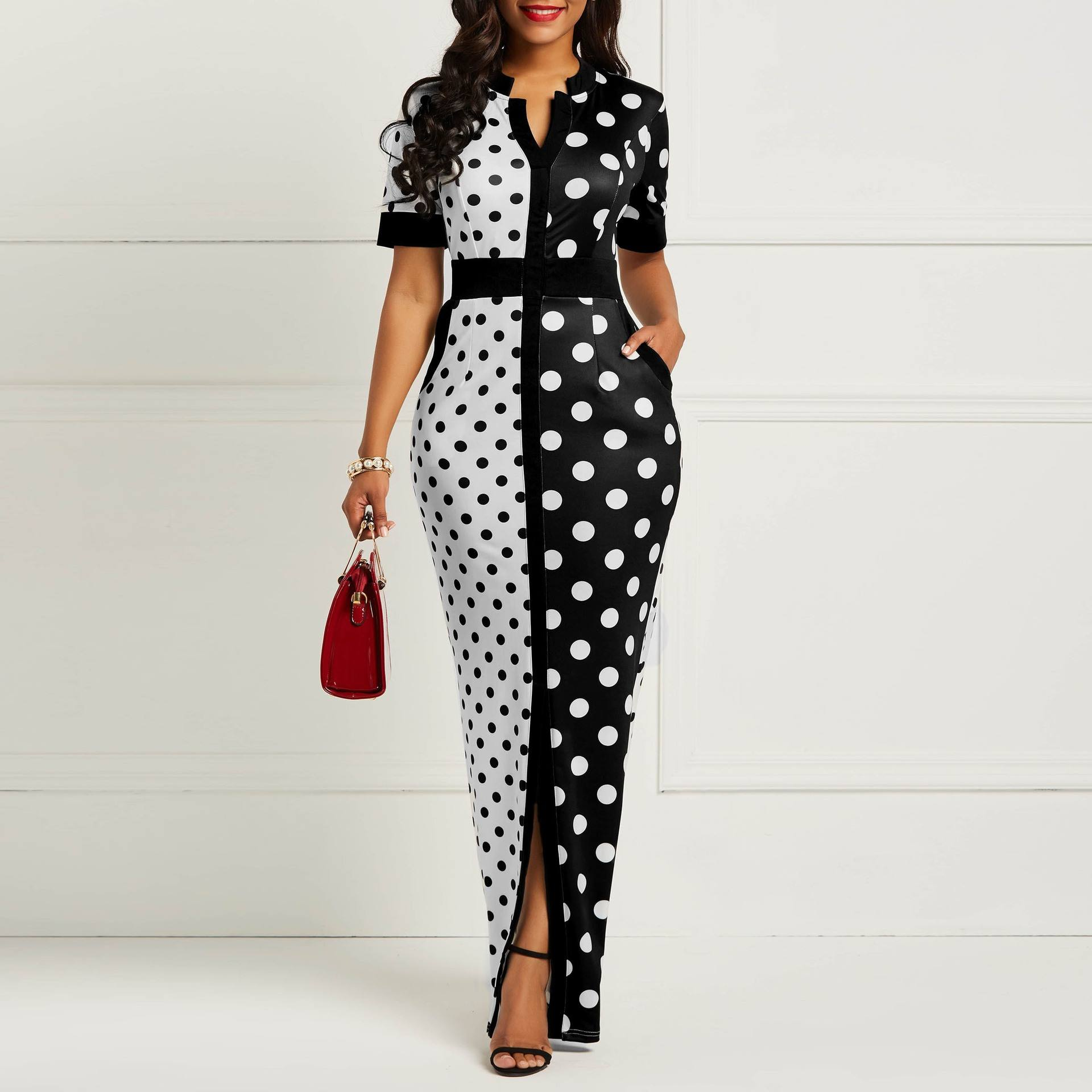Summer Front Split Chiffon Maxi Shirt Slim White Black Polka Dot Lady Casual Dress