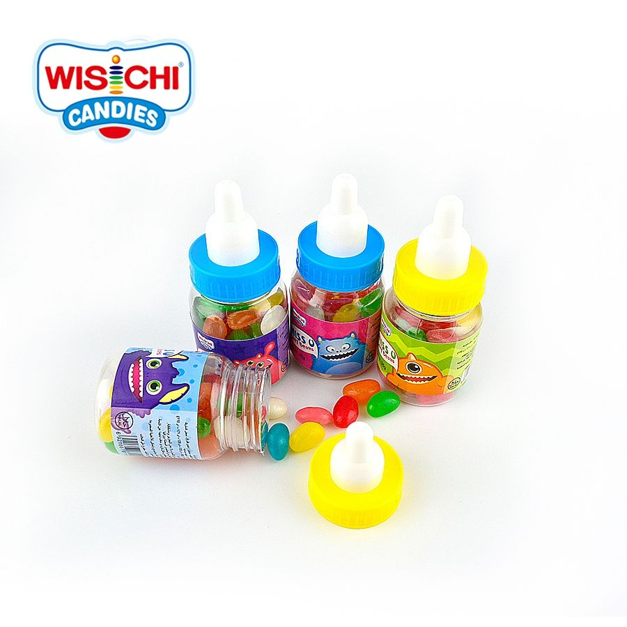 Free sample 35g assorted color jelly bean candy feeding plastic jar packed fruity jelly gummy big sale