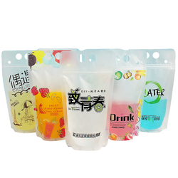 reusable disposable plastic stand up drinking fruit juice packing pouch bag