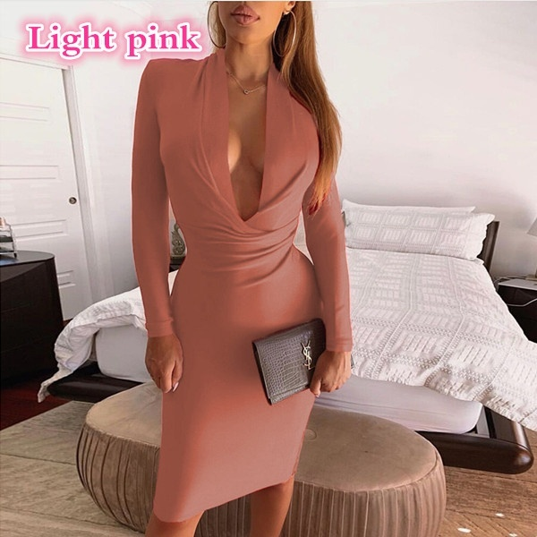 Autumn Women's Slim Body V-neck Solid Color Bodycon Dress Ladies Office Long Sleeve Business Formal Female Clothes
