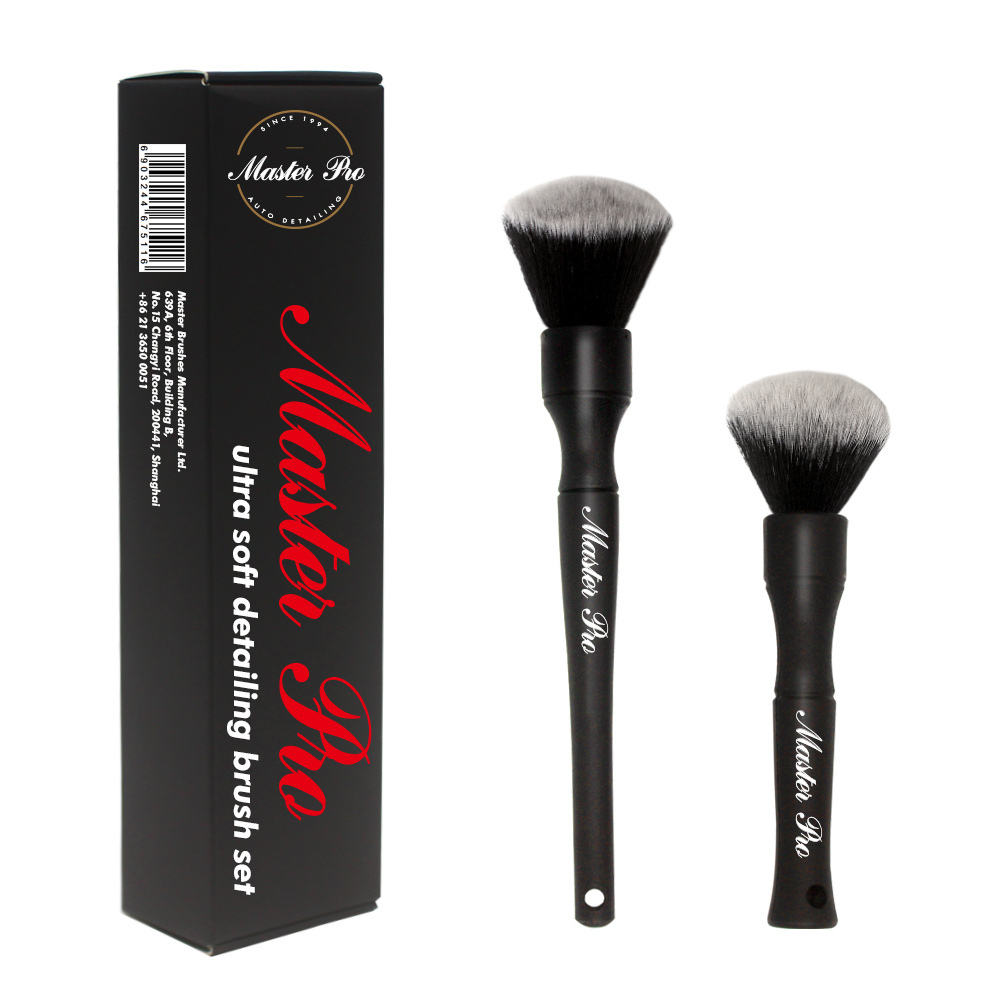 Master M71024 Factory New Set of 2 PCS Car No Shed Ultra Soft Synthetic Hair Auto Black Detailing Brush Set