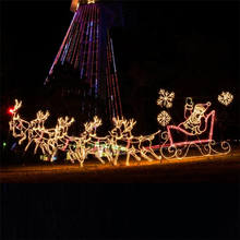 2D rope light Santa reindeer animated LED Christmas lights rooftop Christmas decorations for commercial park zoo displays