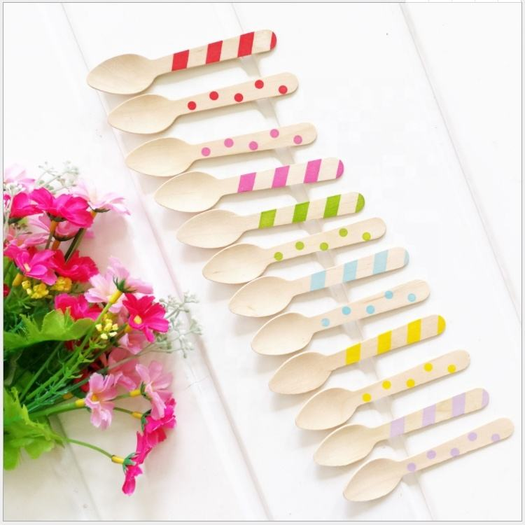 Eco-Friendly Disposable Wooden Bamboo Cutlery Set With Spoons Disposable Ice Cream Spoon Set