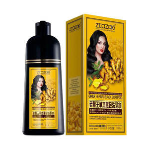 Ztazaki 500ml Organic herbal 5 mins fast dying magic gray cover black hair shampoo with Private Label for Permanent