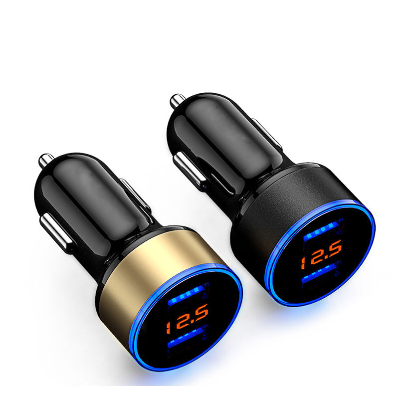 Car Charger 2 Port 3.1A Dual USB Charger LCD Display 12-24V Cigarette Socket Lighter Fast Car Charger Adapter