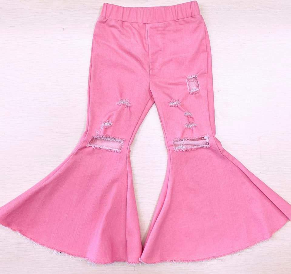 2020 new hot sell Pink Distressed Baby and Kids Bell Bottom Jeans customizable