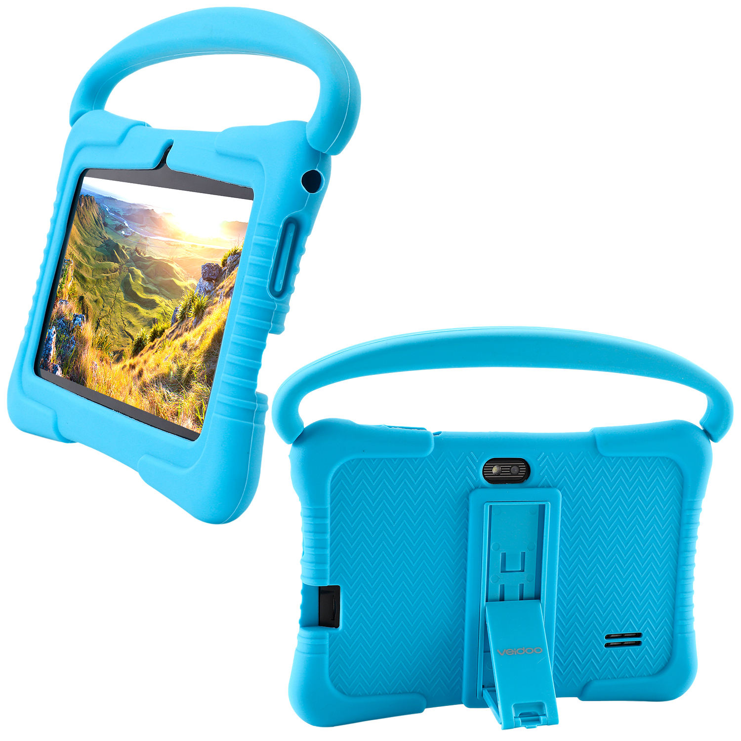 7 inch Tablet PC Case Shockproof Silicone Case With Handle And Stand For Veidoo Kids Tablet PC T8 (8.3x6.3x0.8 inches)