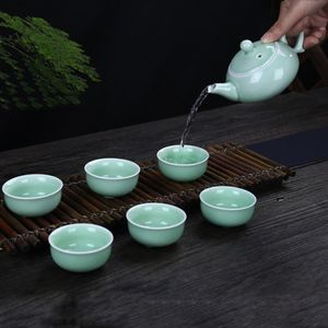 7 in 1 Celadon Ceramic Tea Set Kung Fu Pot Infuser Teapot 3D Fish Serving Cup Teacup Chinese Drinkware with Gift Box